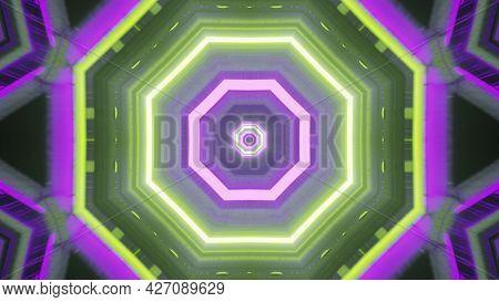 Luminous Geometric Design Of Sci Fi Tunnel 4k Uhd 3d Illustration