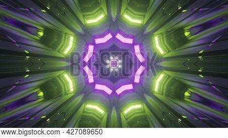 Vibrant Neon Illumination With Geometric Design 4k Uhd 3d Illustration