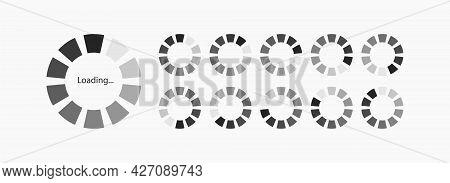 Rrogress Loading Vector Icon Set For Motion, Animation Isolated On White Background. Load Symbol, Do