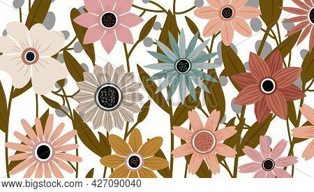 Backdrop Decorated With Blooming Flowers And Leaves. Abstract Art Nature Background Vector. Trendy P