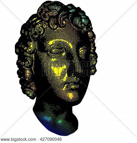 Wow Pop Art Face 3d Mesh. Sexy Emotion Girl Vector Colorful Grid Background Cartoon