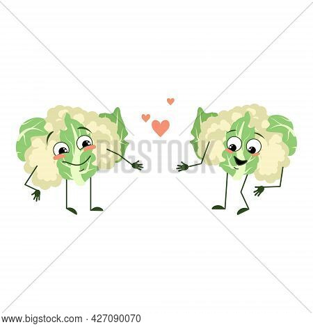 Cute Cauliflower Characters With Love Emotions, Smile Face, Arms And Legs. The Funny Or Happy Green