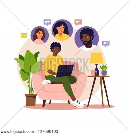 Concept Of Social Promotion, Refer A Friend, Refer And Earn. Referral Marketing. African Woman Sitti