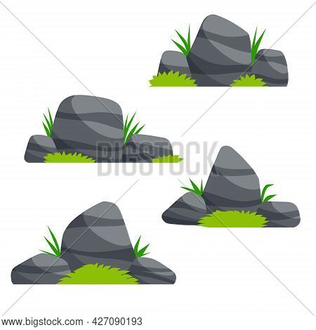Set Of Stones. Scenery Of Nature, Forests And Mountains. Pile Of Rubble. Flat Cartoon Illustration.