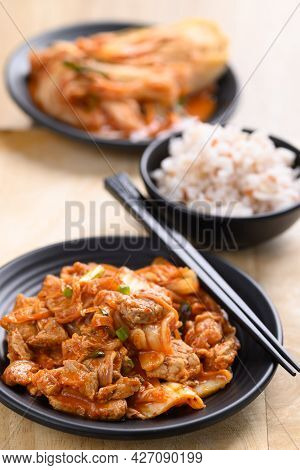Homemade Korean Food, Stir-fried Kimchi Cabbage With Pork Eating With Cooked Rice