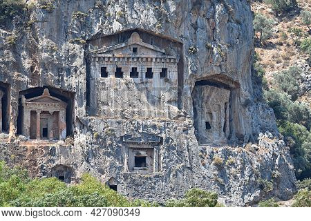 Ancient Lycian Tombs Carved Into The Rocks (dalaman, Turkey)