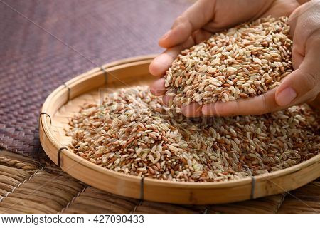 Organic Thai Highland Brown Rice Grain In A Bamboo Basket With Hand (cargo Rice, Loonzain Rice Or Hu
