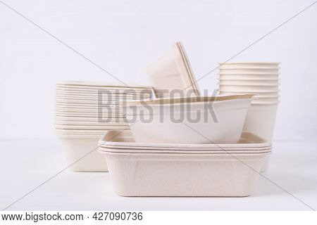Biodegradable Bowl And Cup Made From Natural Fiber On White Background, Eco Friendly And Sustainabil