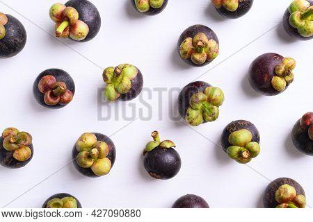 Mangosteen Fruit On White Background, Flat Lay, Tropical Fruit