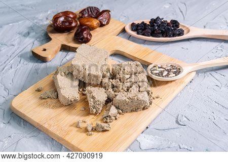 Halva Of Sunflower Seeds. Traditional Middle Eastern Sweets. Jewish, Turkish, Arabic National Desser