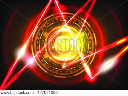 Sphere, Neon Light And Laser. Abstract Gear Hud Circle Background. Futuristic Science Fiction Interf