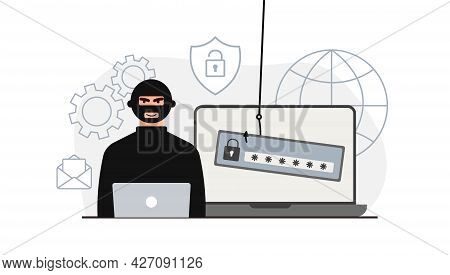 Hacker Attack. Fraud With User Data On Social Networks. Credit Or Debit Card Theft. Internet Phishin