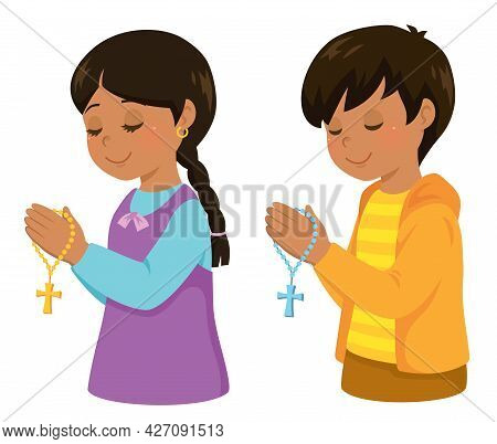 Christian Hispanic Kids Praying With A Rosary Cross.