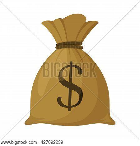 Money Bag Icon, Dollar Money Bag Isolated On White Background , Flat Simple Cartoon Illustration. Ve
