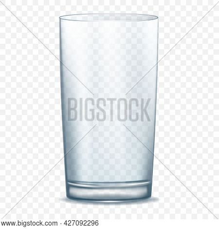 Empty Transparent Glass Cup, Vector 3d Realistic , Isolated On Transparent Background. Vector Illust