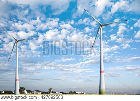Wind Turbine . Reopening Of Wind Turbines . Background Of Cloudy Sky