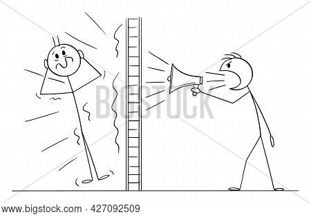 Person Or Neighbor Doing Loud Noise Using Megaphone Behind Wall, Vector Cartoon Stick Figure Illustr