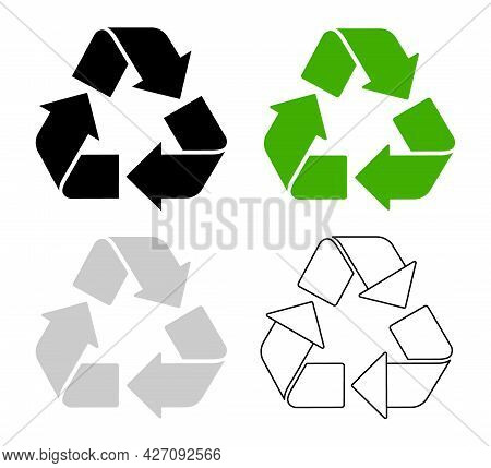 Recycle Icons. Set Of Four Isolated Vector Recycle Symbol, Flat Design