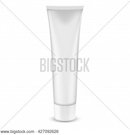 Tube Of Toothpaste, Cream Or Gel, Isolated On White Background. Grayscale , Silver, White, Clean. Re
