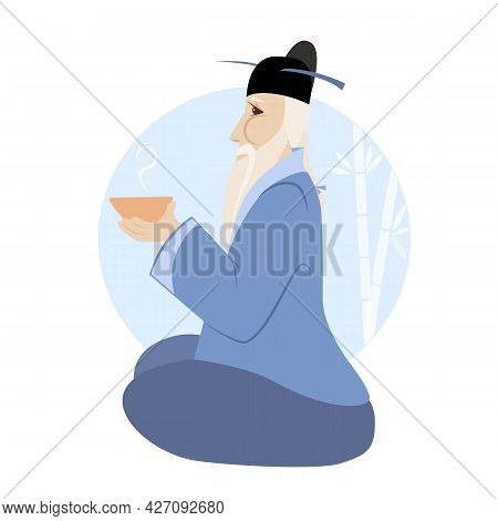 Vector Illustration Of Oriental Sage With A Cup Of Tea