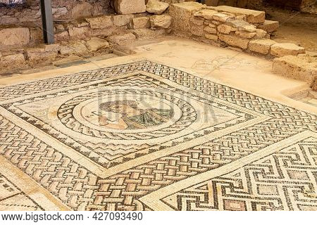 Cyprus, Limassol - 29 June 2021. Floor Mosaic In The House Of Eustolios In The Ancient City Of Kouri