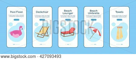 Beach Equipment Onboarding Mobile App Screen Flat Vector Template. Walkthrough Website 5 Steps With