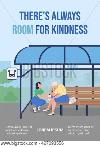 Support For Elderly Poster Flat Vector Template. Theres Always Room For Kindness. Brochure, Booklet