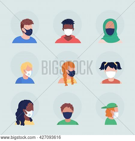 No-pleat Medical Masks Semi Flat Color Vector Character Avatar Set. Portrait With Respirator From Fr