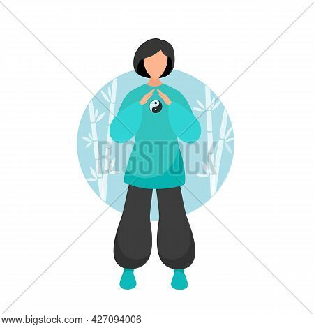 Stock Vector Illustration Of A Woman Performs Tai Chi And Qigong Exercises With A Tai Chi Ball