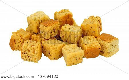 Group Of Baked Crusty Bread Cube Croutons Isolated On A White Background