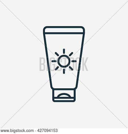 Sunscreen Line Icon. Sunblock Cream Linear Pictogram. Tanning Product For Protect Of Uv. Suntan Loti