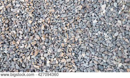 Crushed Gravel. Stone Texture. Gray Gravel. Background.