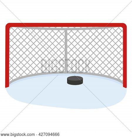 Hockey Goal With A Puck, Color Vector Illustration In The Cartoon Style.