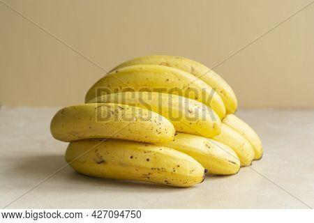 Ripe Bananas Fruit, Bright Food Photo. Healthy Snacks