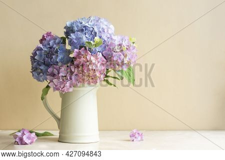 Hydrangea Flower Bouquet In Vase. Beautiful Blue And Pink Flower Bright Background.