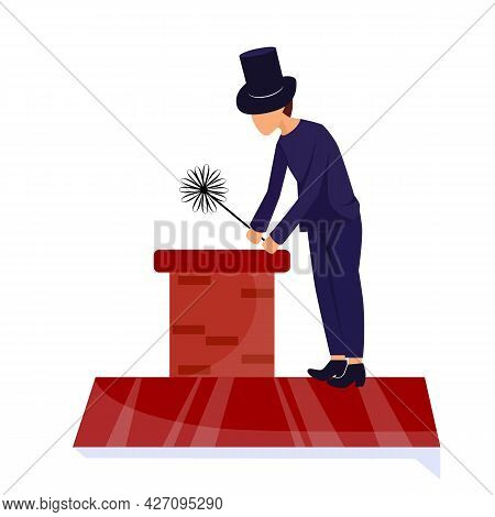Vector Illustration Chimney Sweep On The Roof Cleans The Chimney