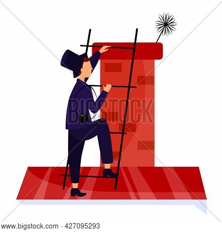 Vector Illustration Chimney Sweep On The Stairs Roof Cleans Chimney