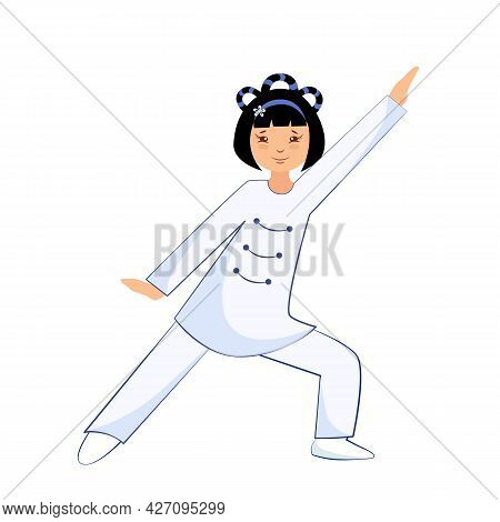 Vector Illustration Of A Girl Performs Exercises Tai Chi And Qigong