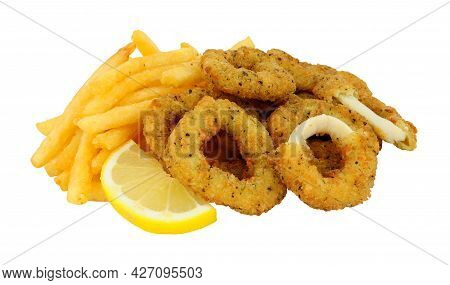 Breadcrumb Covered Salt And Pepper Calamari Rings And French Fries Isolated On A White Background