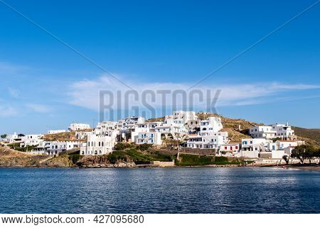 Landscape View Of Loutra Village On Kythnos Island, Cyclades, Greece. Traditional Greek Whitewashed
