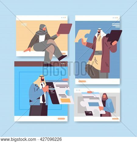 Arab Businesspeople Discussing During Video Call Business People Team Using Virtual Conference