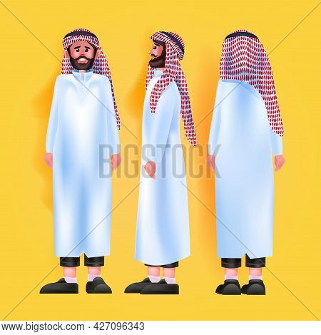 Set Arab Man In Traditional Clothes Male Cartoon Character Standing Pose Different Angles View Full