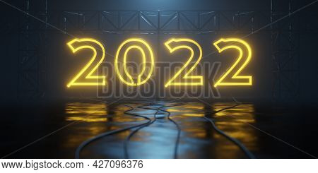 a typical neon light 2022 sign 3D illustration