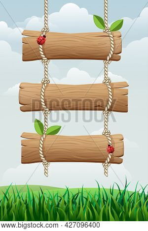 Summer Or Spring Nature Background With Hanging Wooden Sign, Grass, Leaves And Ladybugs. Vertical Ba