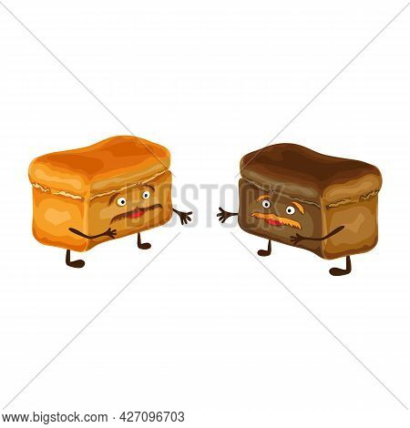 Funny Bread Characters Isolated. Two Happy And Cute Bread Friends With Mustache. Illustration. Carto
