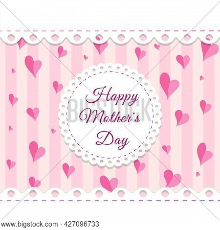 Happy Womens, Mother Or Valentine Day Greetings Card Template With Round Lace Frame, Hearts And Plac