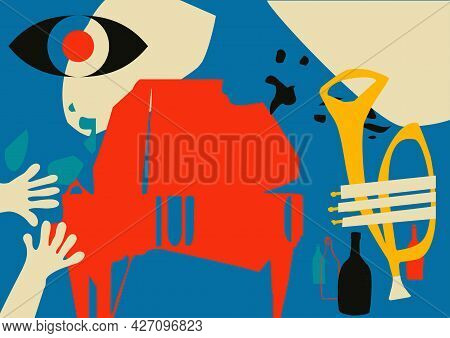 Musical Promotional Poster With Musical Instruments Colorful Vector Illustration. Piano And Trumpet