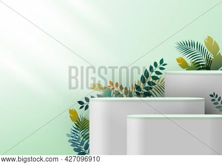 3d Realistic White Pedestal On Green Mint Backdrop For Product Display With Tropical Leaves. Platfor