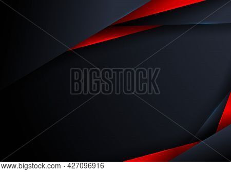 Abstract Elegant Modern Triangles Polygonal Blue And Red Shiny On Dark Background With Space For You
