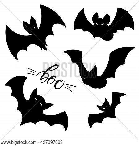 Black Bats Set And Boo Lettering. Hand Drawn Illustration Of Night Creatures Bats. Halloween Design